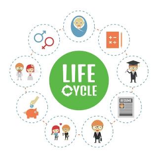ciclo-da-vida-em circulo-indicando-as-fases-desde-o-nascimento-ate-a-velhice