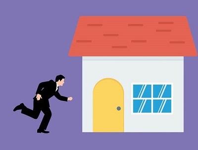 home apressado correndo para casa - ilustração