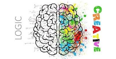 ilustração duas partes do cérebro com as palavras lógica e criativa ao lado de cada uma