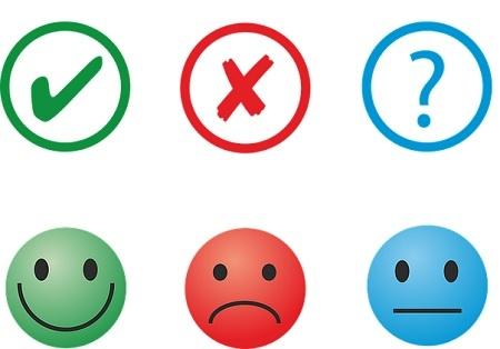 emoticons feliz, triste e indiferente e sinais de aprovação, reprovação e indiferença