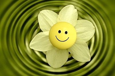 simplicidade flor com emoticon sorrindo e água por baixo